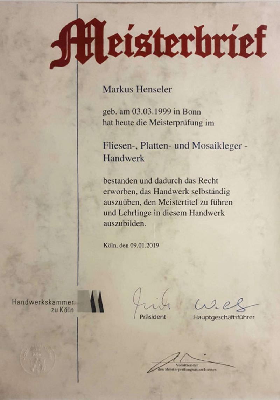 Meisterbrief Markus Henseler