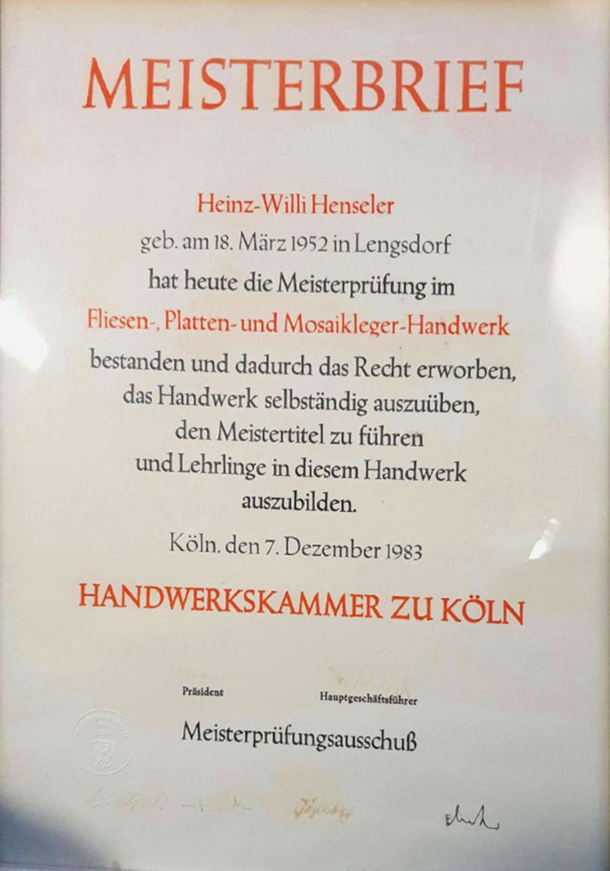 Meisterbrief Heinz-Willi Henseler